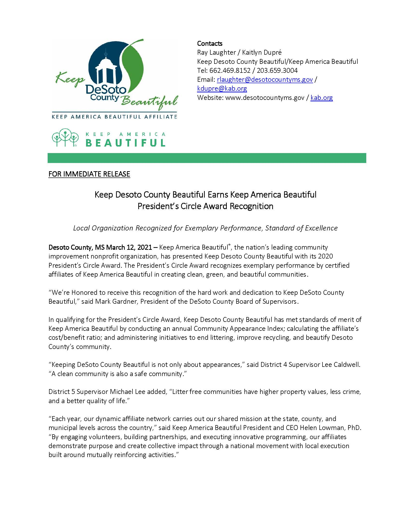 DeSoto County Beautiful  Award 2020 Page 1